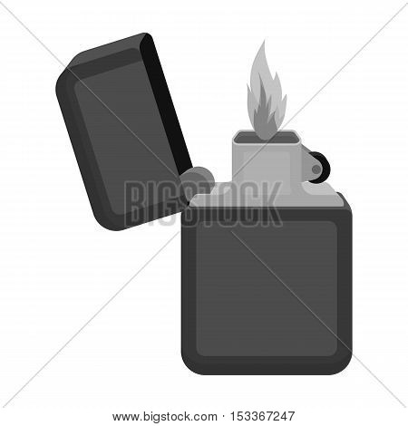 Lighter icon in monochrome style isolated on white background. Light source symbol vector illustration