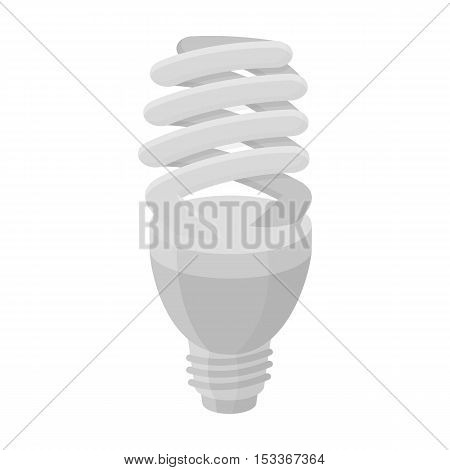 Fluorescent lightbulb icon in monochrome style isolated on white background. Light source symbol vector illustration