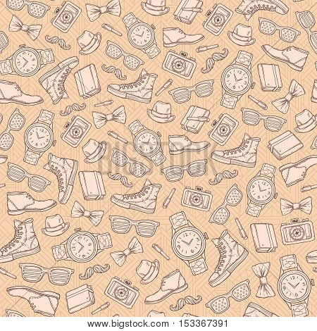 Vector hipster seamless pattern. It can be used as a design element.