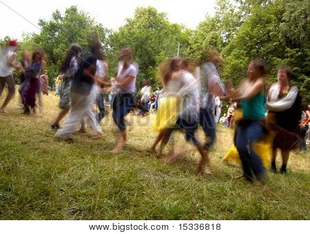 Dancing people with motion blur