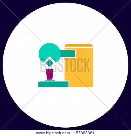 Coffee Maker Simple vector button. Illustration symbol. Color flat icon