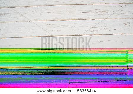 Glitch background of weathered painted white wooden plank