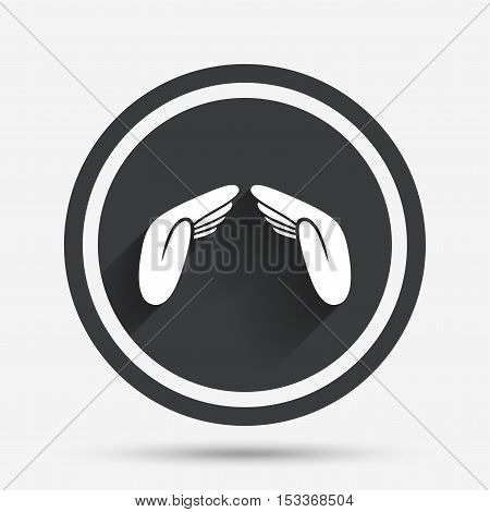 Hands protect cover sign icon. Insurance symbol. Human helping palms. Circle flat button with shadow and border. Vector