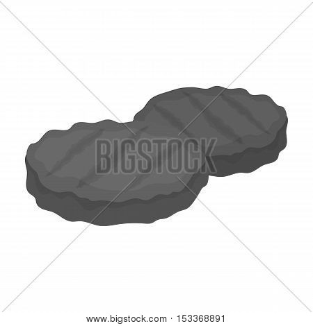 Grilled patties icon in monochrome style isolated on white background. Meats symbol vector illustration