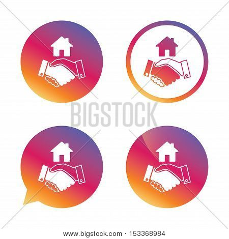 Home handshake sign icon. Successful business with house building symbol. Gradient buttons with flat icon. Speech bubble sign. Vector
