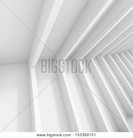 Abstract Architecture Design. White Modern Background. Modern Minimal Building Construction. Column Wallpaper. 3d Rendering