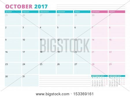 Calendar Planner Template For 2017 Year. October. Business Planner Template. Stationery Design. Week