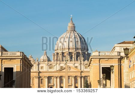 Saint Peter's basilica dome in Rome, Italy