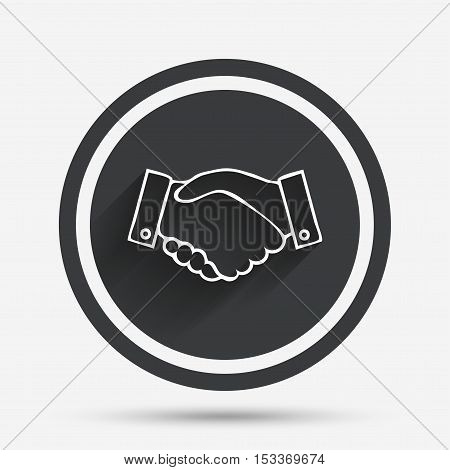 Handshake sign icon. Successful business symbol. Circle flat button with shadow and border. Vector