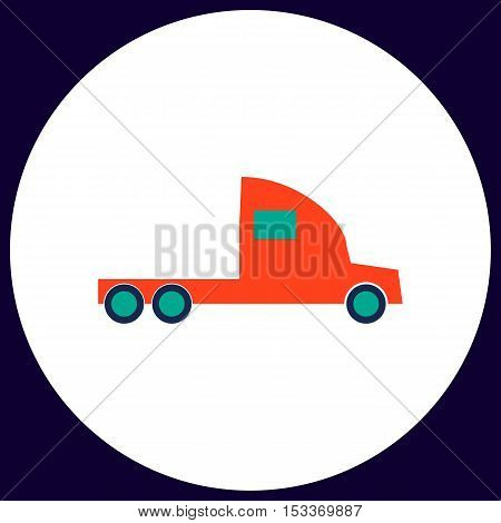 cargo truck Simple vector button. Illustration symbol. Color flat icon