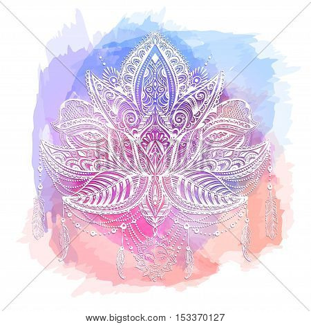 Hand drawn ornate vector ornamental Lotus Tattoo with elements of sacred geometry Indian feathers paisley beads ethnic art. Spiritualism magical symbols for astrology and alchemy in boho style.
