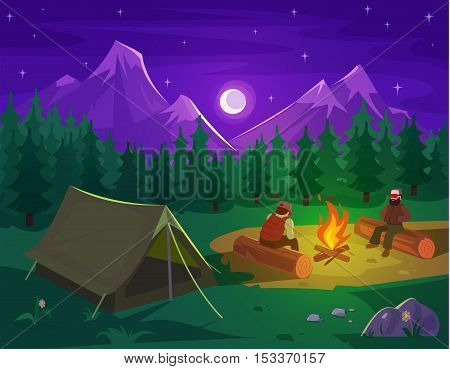 Vector illustration of a mountain landscape with coniferous forest and camping tent in the foreground