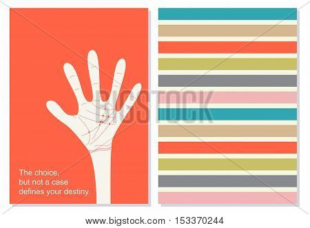Creative card, booklet. Creative, motivation quote for cards, banners, posters. White hand with red lines on palms. Quotation on the red background. Vector.