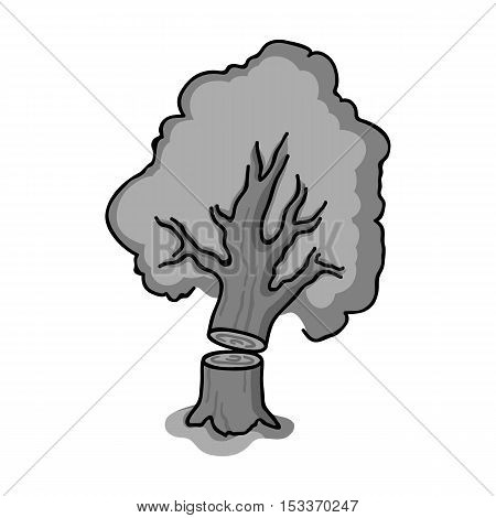 Falling tree icon in monochrome style isolated on white background. Sawmill and timber symbol vector illustration.