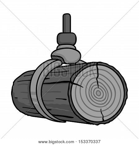 Hydraulic crane icon in monochrome style isolated on white background. Sawmill and timber symbol vector illustration.