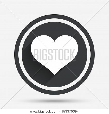 Love icon. Heart sign symbol. Circle flat button with shadow and border. Vector