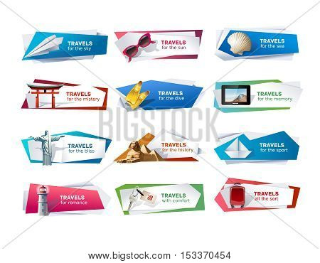 Set of vector banners on the theme of travel