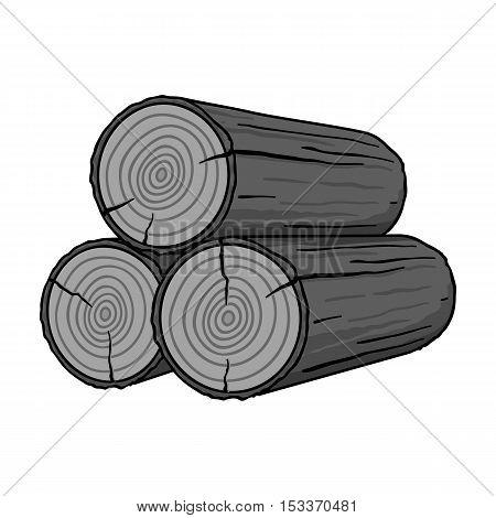 Stack of logs icon in monochrome style isolated on white background. Sawmill and timber symbol vector illustration.