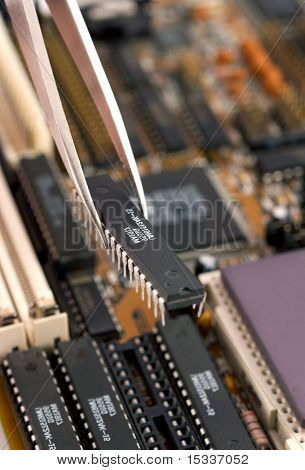 Assembling a circuit board close up