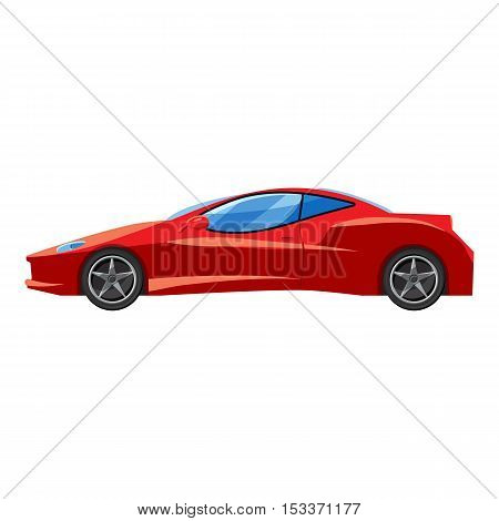 Red sport car side view icon. Isometric 3d illustration of sport car side view vector icon for web