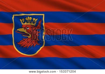 Flag of Szczecin is the capital city of the West Pomeranian Voivodeship in Poland. 3d illustration