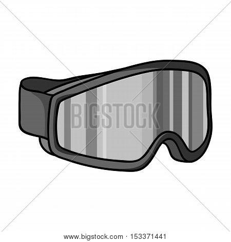 Ski goggles icon in monochrome style isolated on white background. Ski resort symbol vector illustration.