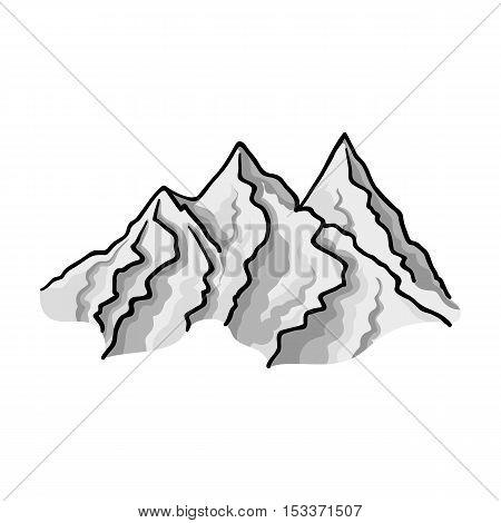 Mountain range icon in monochrome style isolated on white background. Ski resort symbol vector illustration.