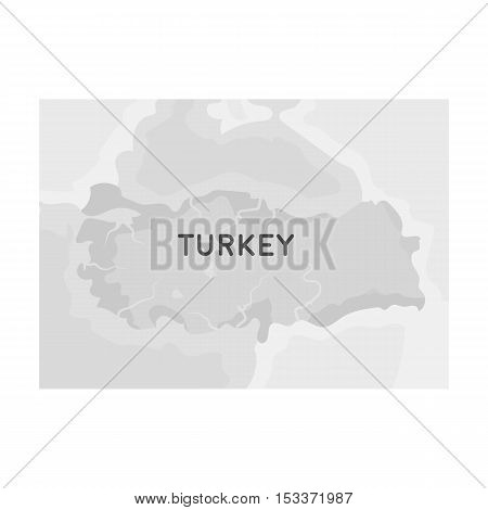 Territory of Turkey icon in monochrome style isolated on white background. Turkey symbol vector illustration.