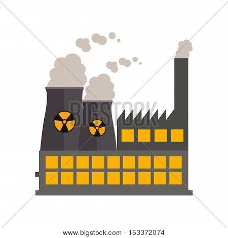 industrial nuclear factory building over white background. industry production design. vector illustration