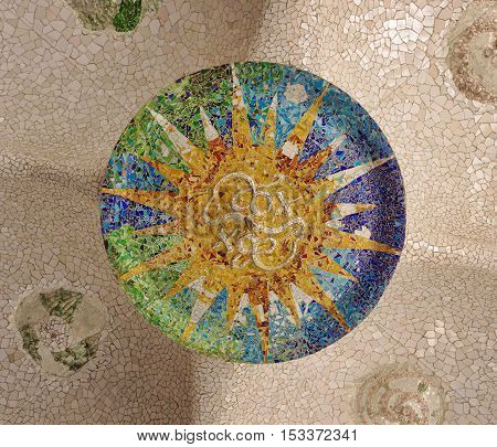 mosaic shape in Guell Park, Barcelona city
