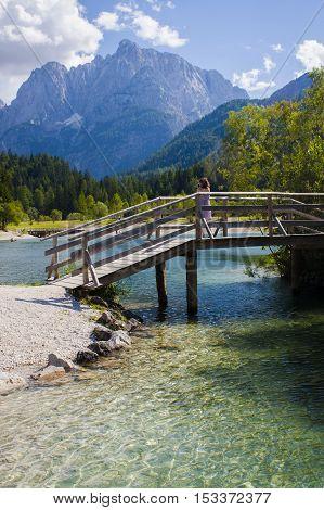 Jasna lake and bridge in Slovenian Alps