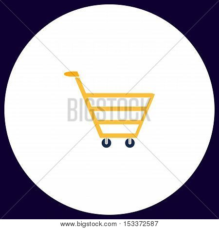 cart Simple vector button. Illustration symbol. Color flat icon