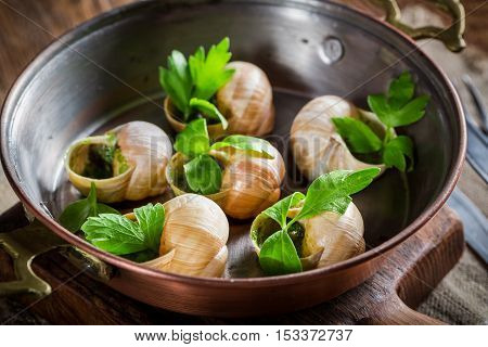 Roasted Snails With Garlic Butter And Parsley