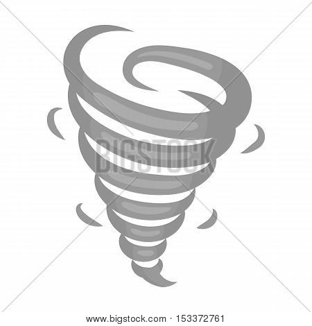 Tornado icon in monochrome style isolated on white background. Weather symbol vector illustration.