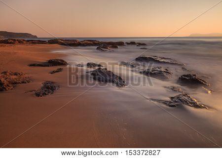 sunrise on the beach in Crete island Greece