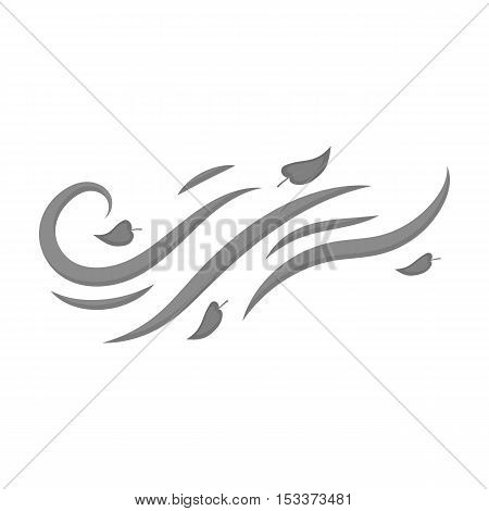 Windy weather icon in monochrome style isolated on white background. Weather symbol vector illustration.