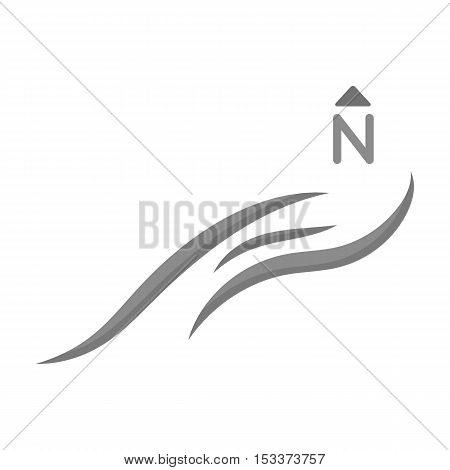 Northern wind icon in monochrome style isolated on white background. Weather symbol vector illustration.