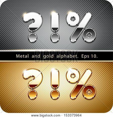 3d Joyful set of chrome metal and gold symbols. Percentage, exclamation, question. Eps 10.