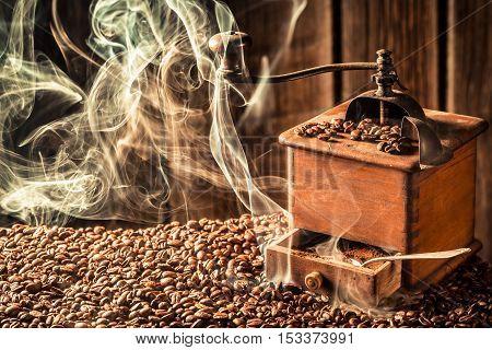 Taste of roasted coffee seeds on the coffee beans