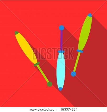 Juggling clubs icon. Flat illustration of juggling clubs vector icon for web isolated on red background