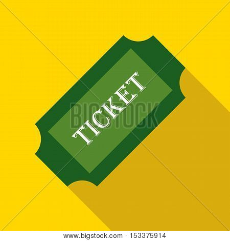 Green paper ticket icon. Flat illustration of green paper ticket vector icon for web isolated on yellow background