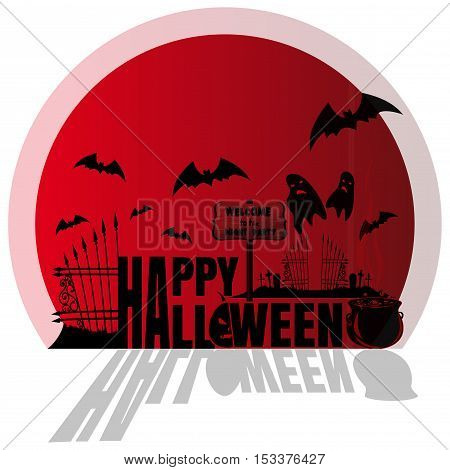 Happy Halloween. Red sticker. Concept art. Halloween, cemetery with ghosts, night party. Illustration for Halloween