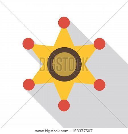Gold star of sheriff icon. Flat illustration of gold star of sheriff vector icon for web isolated on white background