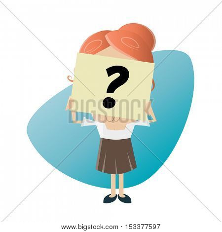 businesswoman hiding her face behind a question mark note