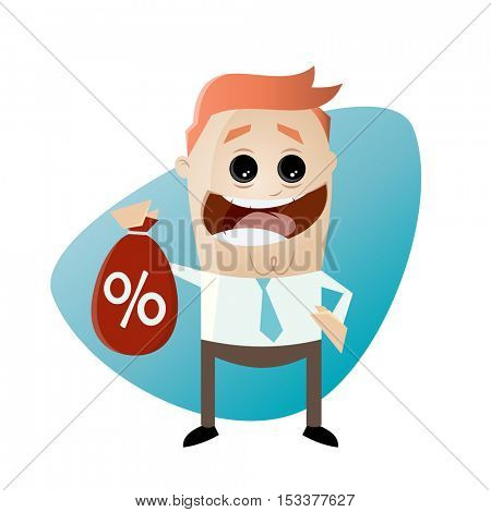 funny businessman with discount bag