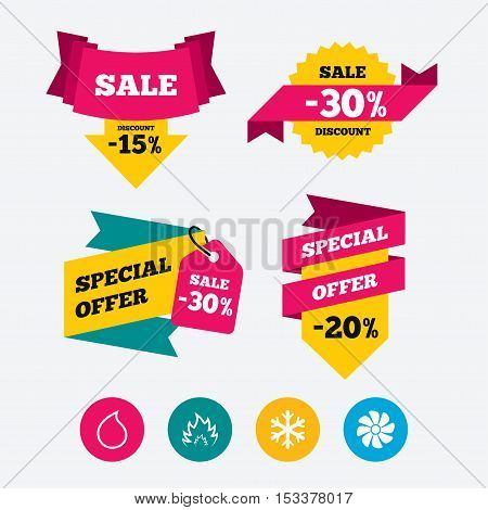 HVAC icons. Heating, ventilating and air conditioning symbols. Water supply. Climate control technology signs. Web stickers, banners and labels. Sale discount tags. Special offer signs. Vector