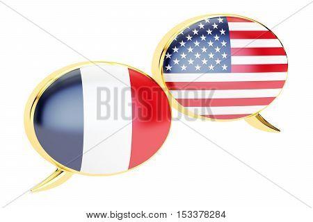 Speech bubbles France-USA conversation concept. 3D rendering