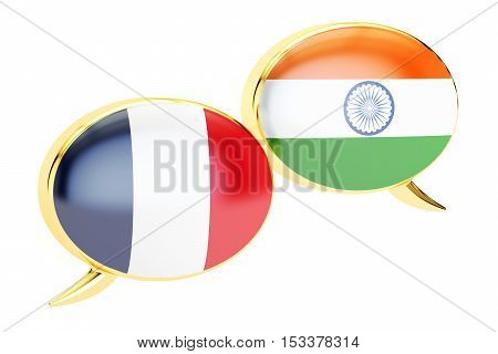 Speech bubbles Indian-French translation concept. 3D rendering