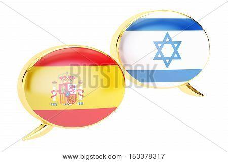 Speech bubbles Israeli-Spanish translation concept. 3D rendering