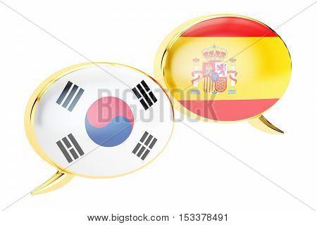 Speech bubbles Korean-Spanish translation concept. 3D rendering